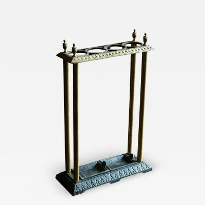 19thC English Brass Iron Umbrella Stick Stand