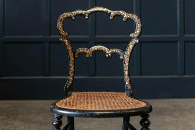 19thC English Chinoiserie Ebonised Parlour Chair