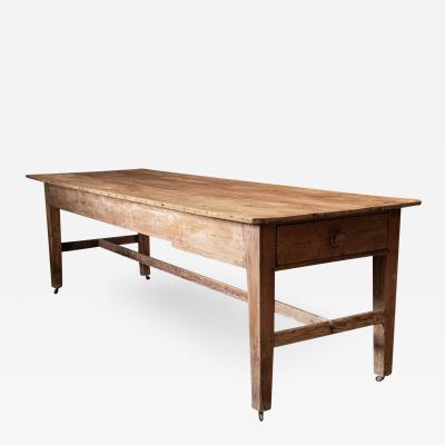 19thC English Country House Pine Farmhouse Prep Table