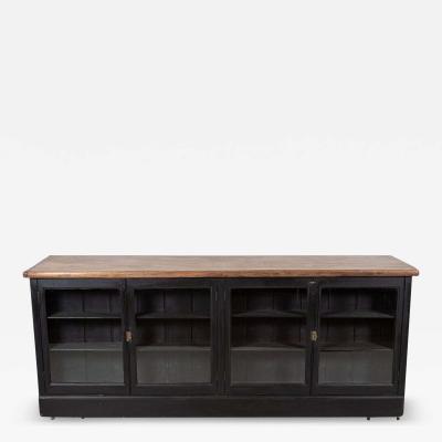 19thC English Ebonised Double Sided Mahogany Shop Counter
