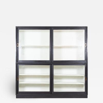 19thC English Ebonised Glazed Museum Display Cabinet