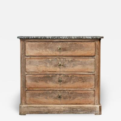19thC French Bleached Walnut Commode