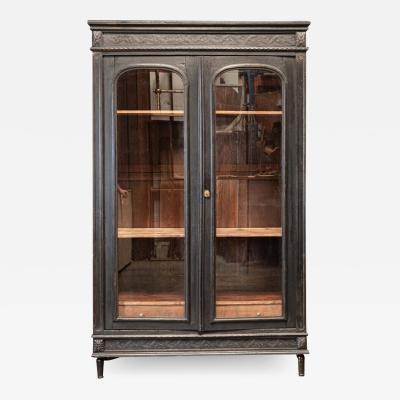 19thC French Ebonised Oak Glazed Vitrine Armoire