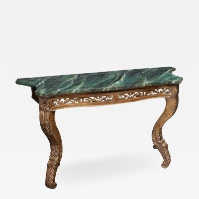19thC French Giltwood Faux Marble Console Table