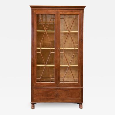 19thC French Mahogany Astral Glazed Vitrine Bookcase