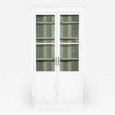 19thC French Oak Painted Glazed Bookcase Vitrine