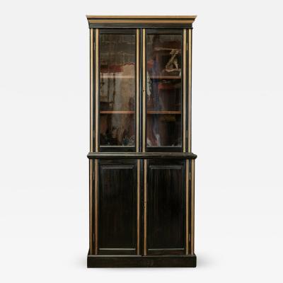 19thC Glazed Ebonised Bookcase