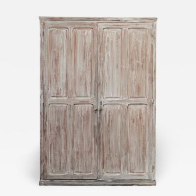 19thC Large French Lime washed Panelled Cupboard