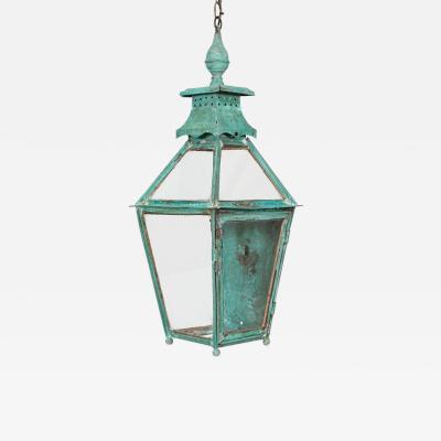 19thC Large French Verdigris Copper Lantern