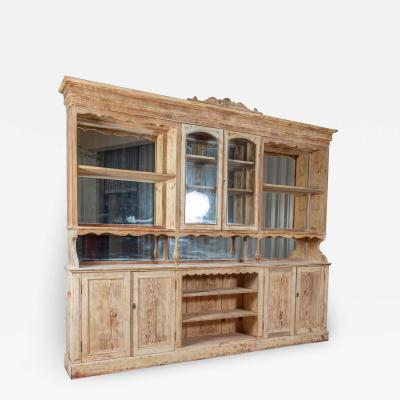 19thC Monumental French Bleached Boulangerie Shop Cabinet