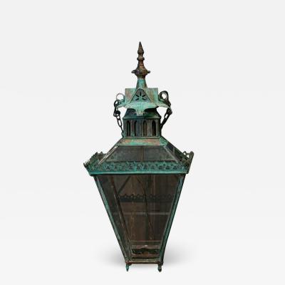 19thC Oversized English George Bray Gothic Verdigris Lantern