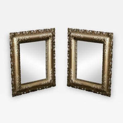19thC Pair Carved Giltwood Plaster Mirrors