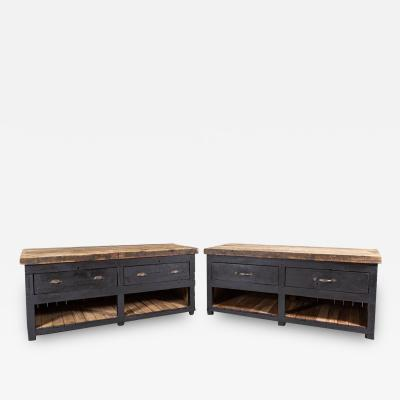 19thC Pair of English Ebonised Pine Counters Kitchen Islands