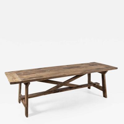 19thC Spanish Rustic Oak Bleached Farmhouse Table