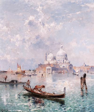 Franz Richard Unterberger Santa Maria Della Salute with Gondoliers on the Grand Canal c 1875