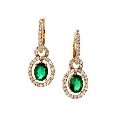 2 00 Carat Emerald Diamond Gold Huggie Dangle Earrings