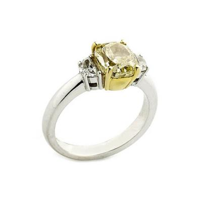 2 01 Carat GIA Cert Fancy Yellow Diamond Gold Ring