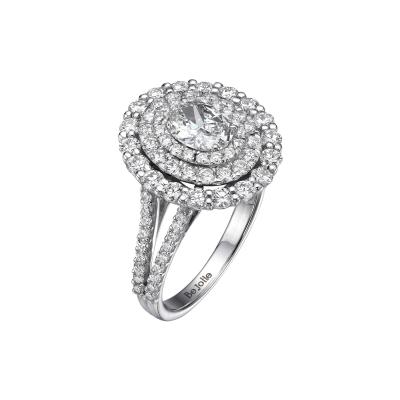 2 14 Carat Oval Cut Diamond Halo Ring GIA Certified G VVS1