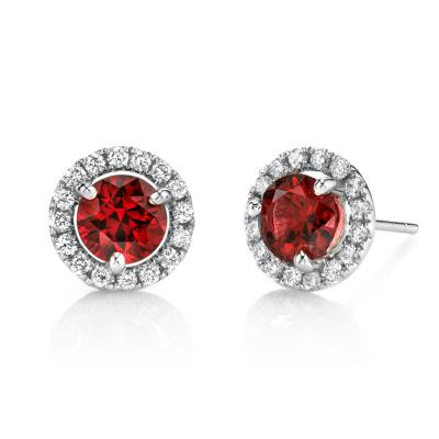 2 14 Carat Red Spinel and 0 32 Carat Diamond 18 Karat White Gold Earrings