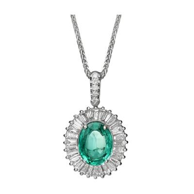 2 18 Carat Emerald and Diamond Ballerina Style Pendant Necklace