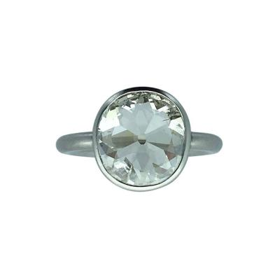 2 23 Carats Old Mine Cut Diamond Platinum Contemporary Ring