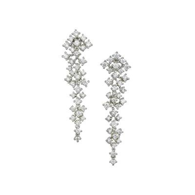 2 25 Carat Diamond White Gold Kite Dangle Earrings