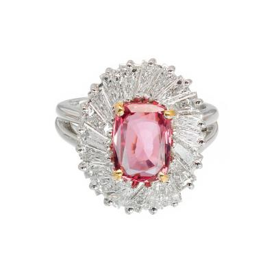 2 39 Carat Pink Sapphire Baguette Diamond Halo Platinum Gold Engagement Ring