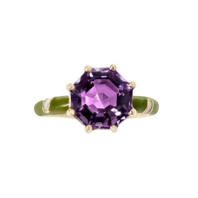 2 48 CT OCTAGONAL AMETHYST WITH GREEN AND WHITE ENAMEL 14K YELLOW GOLD