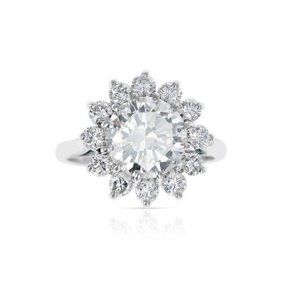 2 59 CT M VVS2 ROUND DIAMOND RING ACCENTED WITH DIAMONDS PLATINUM