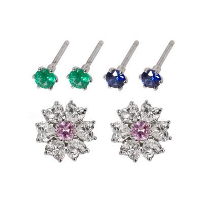 2 84 Carat Floral Interchangeable Diamond Earrings Set with Heart Shape Diamonds