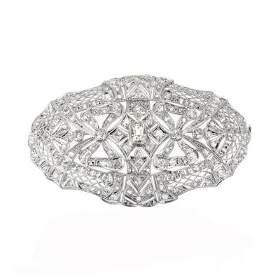2 85 Carat Art Deco Diamond Platinum Oval Brooch