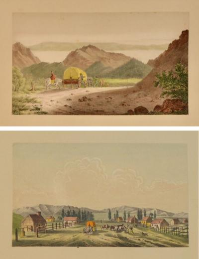 2 Antique Watercolors George Caitlin Salt Lake City Founding Mormons