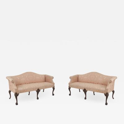 2 English Chippendale Pink Upholstery Settees