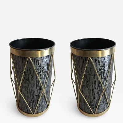 2 French Mid Century Modern Umbrella Stands or Waste Baskets by Maison Jansen