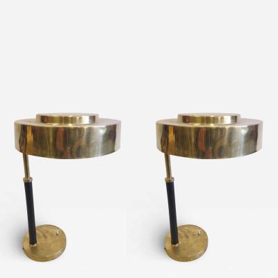 2 Mid Century Modern Brass and Leather Marine Desk Table Lamps England 1930