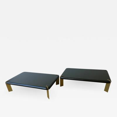 2 Mid Century Modern French Lacquered Black Bronze Legs Cocktail Coffee Tables