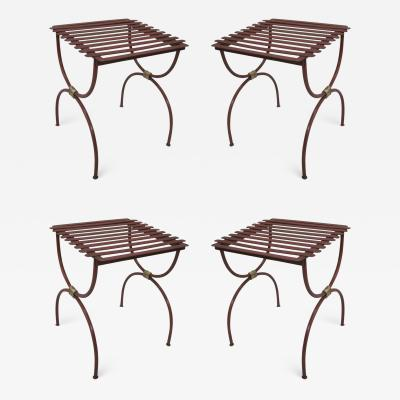 2 Pairs French Modern Neoclassical Iron Side Tables Luggage Racks Benches 1940