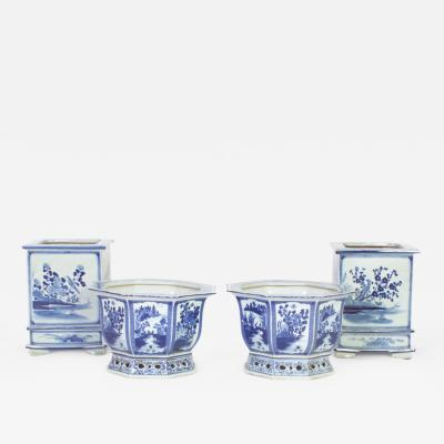 2 Pairs of Chinese Export Blue and White Porcelain Planters Priced Individually
