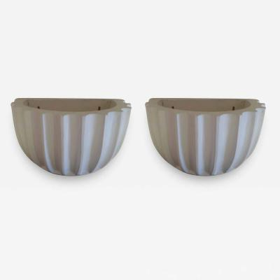 2 Pairs of French Art Deco Mid Century Modern Plaster Wall Sconces