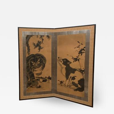 2 Panel Screen Japan Meiji Period