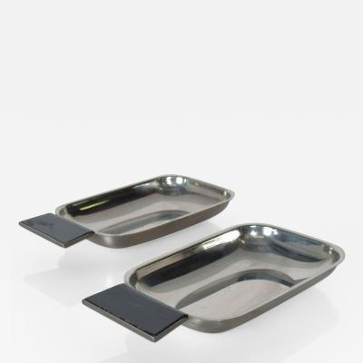 2 Petite Stainless Steel Serving Trays Handle Dish Side Tray made ITALY