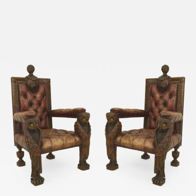 2 Rustic Continental style Walnut Carved Arm Chairs