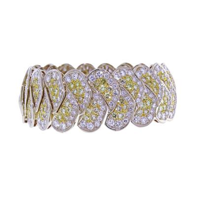 20 Carat Yellow and White Pav Diamond Bracelet