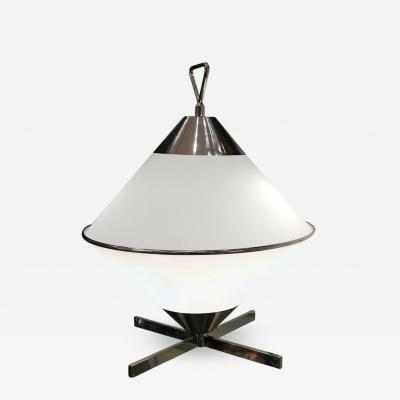 2000s Design Opaline and Chromium Table Lamp