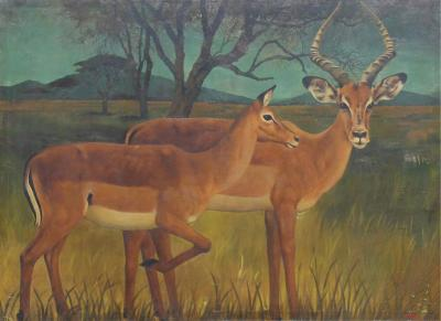 20th C Cabin Deer Country Monumental Art 5 5 Foot Deer Painting