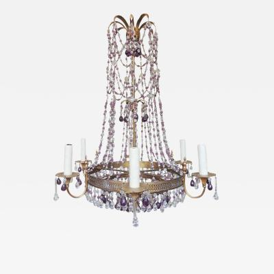 20th C Italian Brass and Crystal Chandelier
