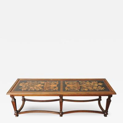 20th C Italian Coffee Table Made from 19th C Panels with Marquetry