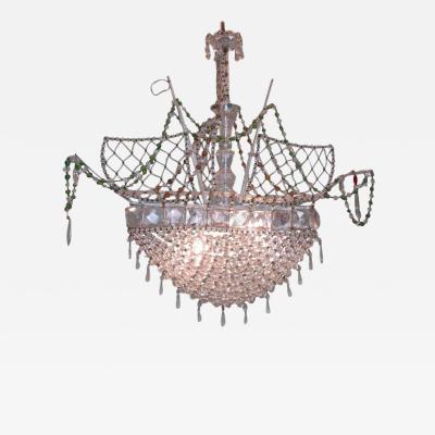 20th C Italian Venetian Crystal Ship Chandelier