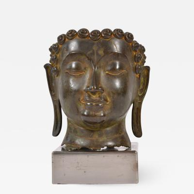 20th Century Bronze Buddha head
