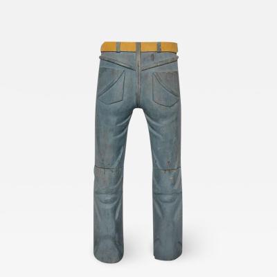 20th Century Folk Art Hand Carved Jeans Sculpture